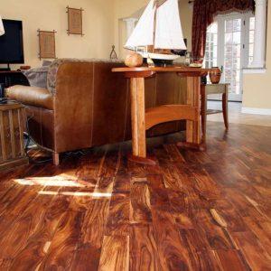 Hand-scraped hardwood flooring
