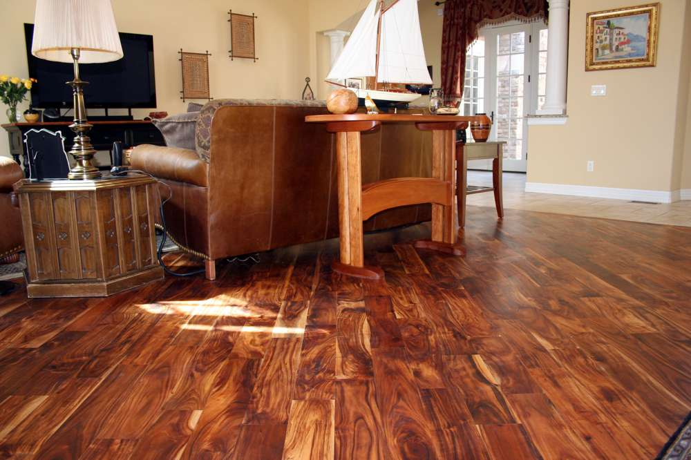 Hand-scraped hardwood flooring