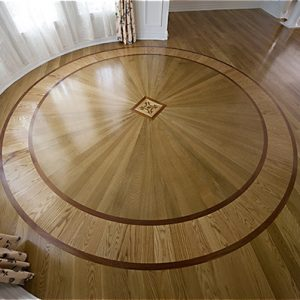 Curved and circular hardwood flooring application
