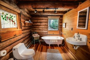 Moisture resistant hardwood floors in the bathroom